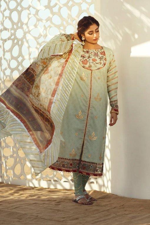 Qalamkar Luxury Festive Lawn Unstitched 3 Piece Suit QFL20-03 – Summer Collection