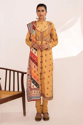 Qline by Qalamkar Embroidered Linen Unstitched 3 Piece Suit QQLNW20 02 - Winter Collection