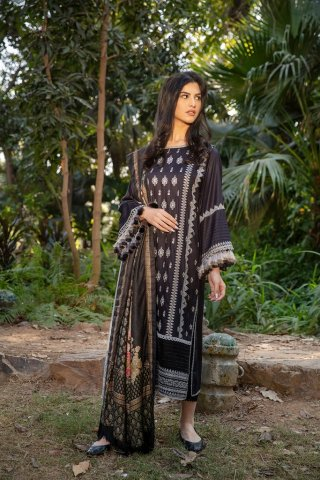 Sobia Nazir Embroidered Cottel Linen Unstitched 3 Piece Suit 2020 02A – Winter Collection