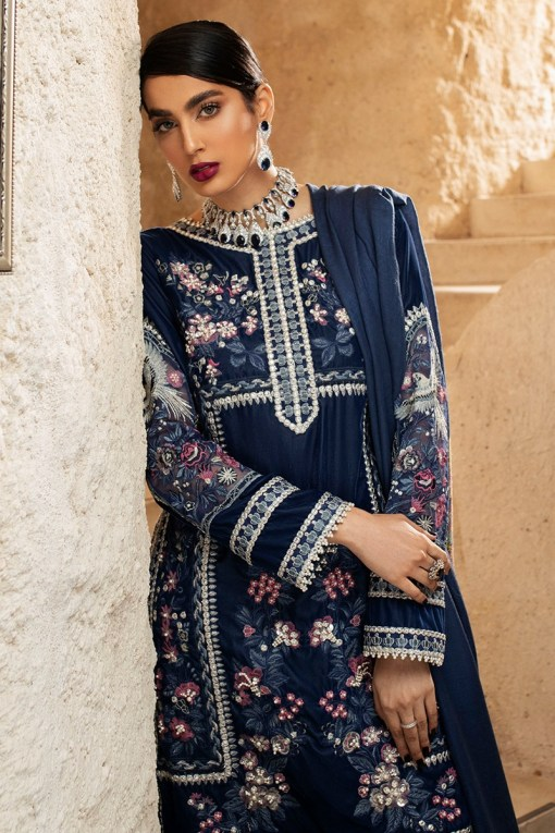 Mushq Winter Sky Embroidered Velvet Unstitched 3 Piece Suit 2020 06 Blue Heaven – Winter Collection
