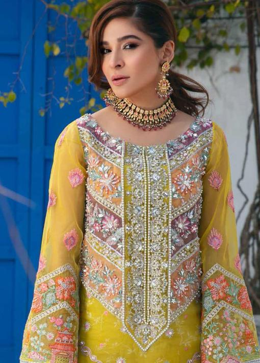 Maryam Hussain Embroidered Organza Unstitched 3 Piece Suit D 07 AMTUL – Wedding Collection