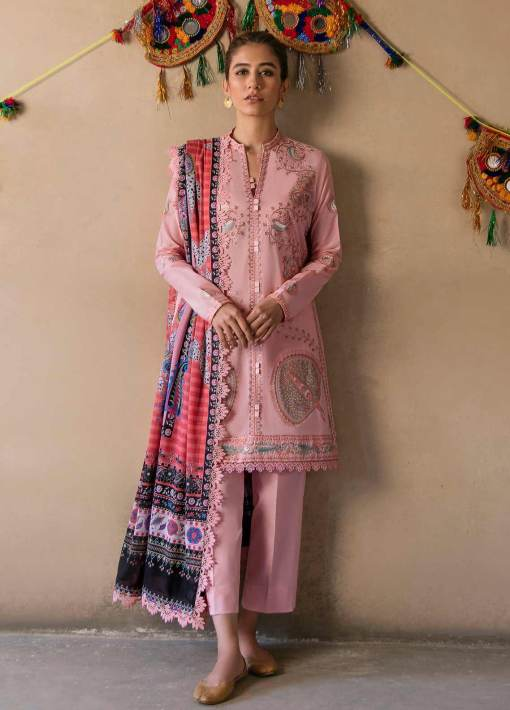 Zaha by Khadijah Shah Embroidered Lawn Unstitched 3 Piece Suit 01-B – Summer Collection