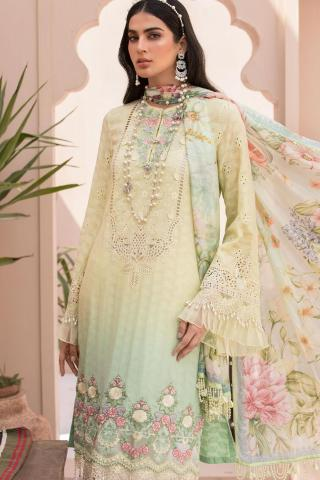 Maria B Embroidered Eid Lawn Unstitched 3 Piece Suit D-02 – Festive Collection