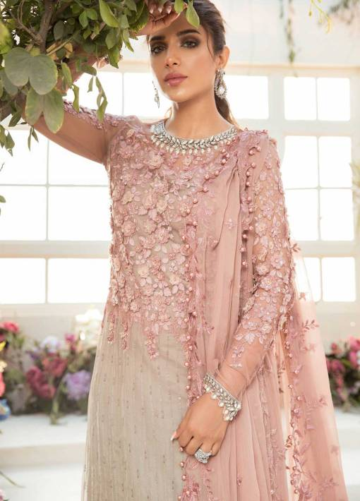 Maria B Mbroidered Organza Unstitched 3 Piece Suit 2021 BD 2101 Coffee and Ash Pink – Eid Collection