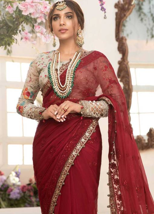 Maria B Mbroidered Chiffon Unstitched Saree 2021 BD 2107 Deep red and Beige – Eid Collection
