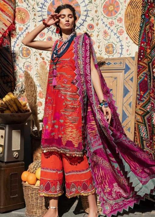 Selene By Republic WomensWear Embroidered Luxury Lawn Unstitched 3 Piece Suit 04A Nargis – Summer Collection