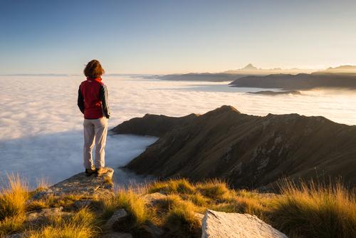 perfekte Aussicht am Berggipfel