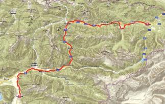 Radweg auf Karte eingezeichnet. Pontebbana Radweg