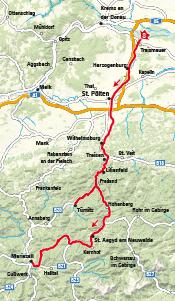 Radstrecke auf Karte eingezeichnet. Traisental-Radweg