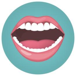 Illustration eines Mundes. Verwendung von Zahnseide. Türkiser Hintergrund. Parodontitis