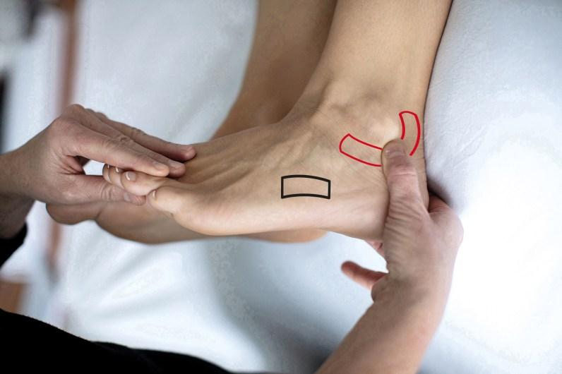 Fußreflexzonenmassage Hüft- und Kniebeschwerden. Hände drücken auf Füße von Frau. Fußreflexzonen