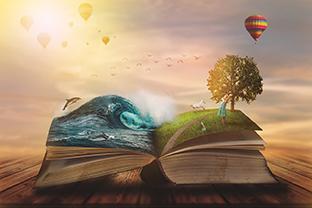 Buch. Konzept von Welten aus Buch. Lesen