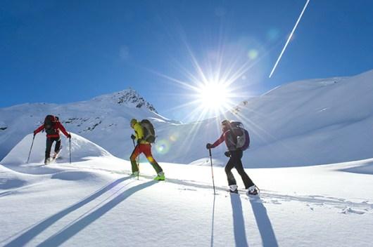 Skitouren gehen. Gruppe geht eine Skitour in der Morgensonne. Schnee. Winter. fit bleiben