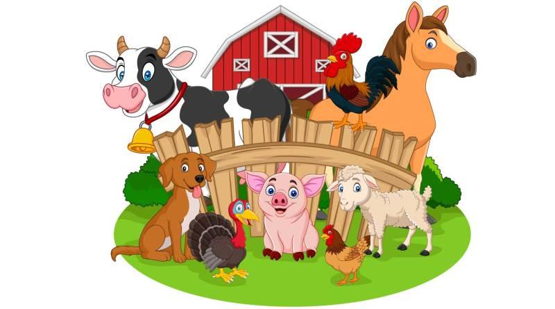 Illustration eines Bauernhofs. Tiere. Bauernhof. Bauernhof-Effekt