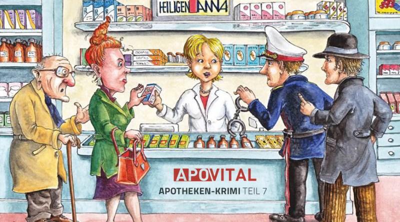 Illustration einer Apotheke mit Personen. Fortsetzungsroman Folge 7