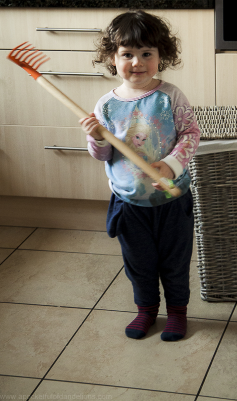 Bubs with her new garden rake