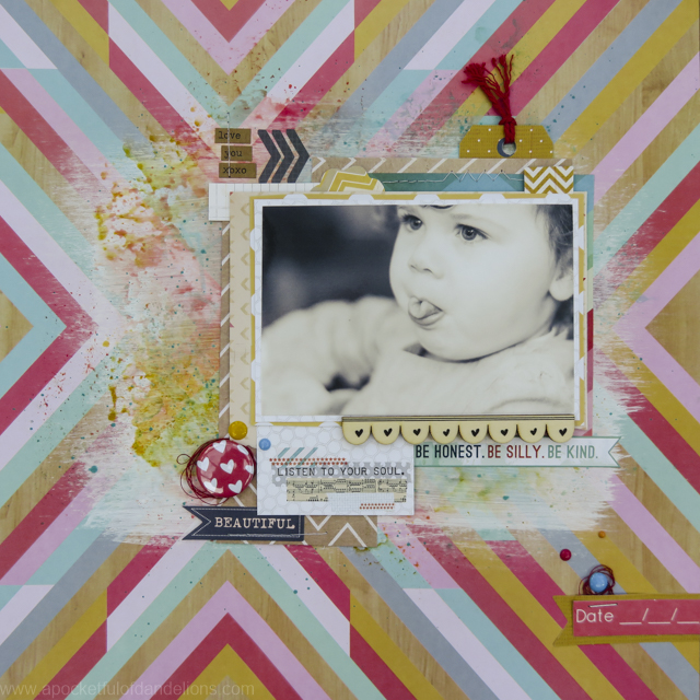 Layout using the July Like For Ever kit and Pinkfresh Studio's Happy Things collection.