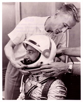 Gus Grissom with suit technician Joe Schmidt