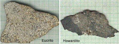 Amostra de meteoritos Eucrito e Howardito