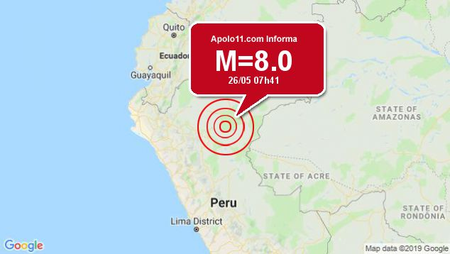 Forte terremoto sacode Peru, a 83 km de Lagunas