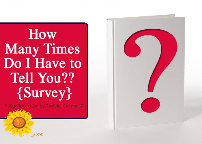 How Many Times Do I Have to Tell You? What are the things you find yourself saying over and over to your kids? {A quick Survey} www.HisSunflower.com by Rachael Carman