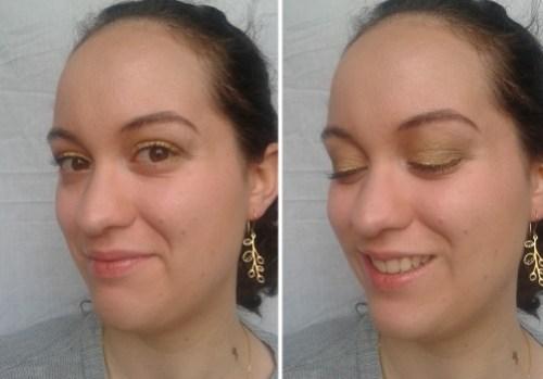 maquillage réveillon doré vert