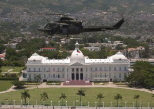 A Canadian helicopter flies over the Presidential Palace as the coup unfolds.