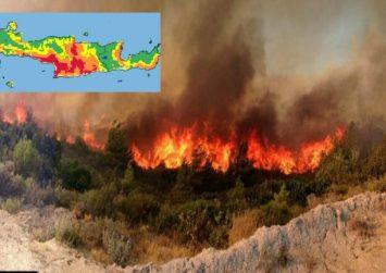 H Νότια Κρήτη σε πολύ υψηλό κίνδυνο εκδήλωσης πυρκαγιάς το Σάββατο