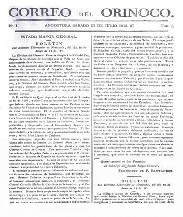 Portada de la primera edición de El Correo del Orinoco