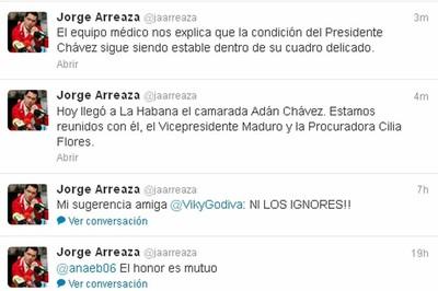 Twiteer del ministro Arreaza