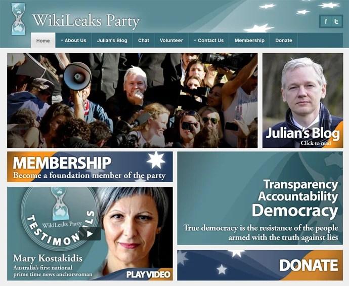 Captura de pantalla de www.wikileaksparty.org.au