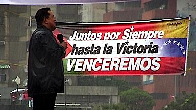 Chávez bendecido por la lluvia