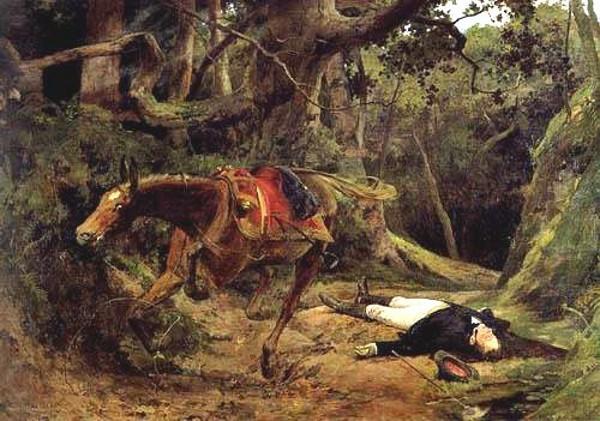 Asesinato de Sucre en Berruecos, en oleo de Arturo Michelena
