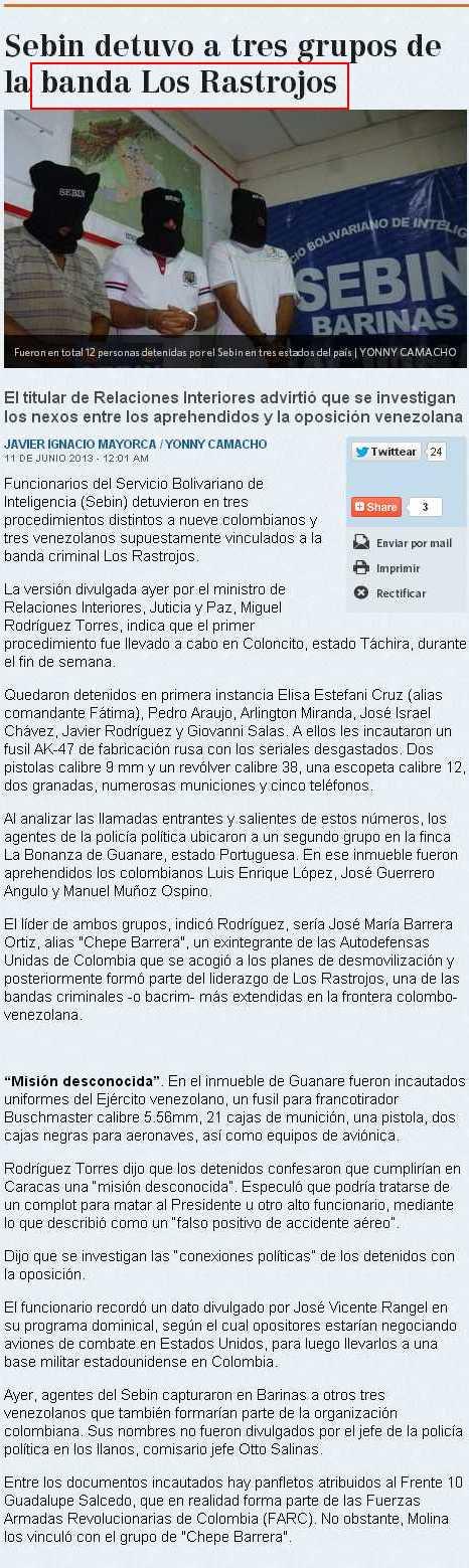 así reseñó el Diario El Nacional la reciente captura de paramilitares colombianos