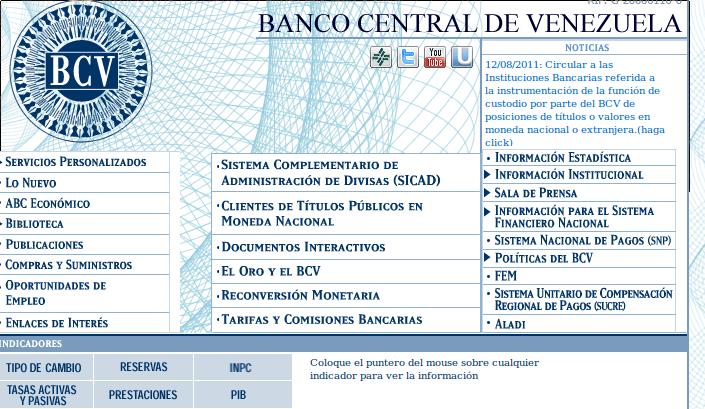 Web del BCV