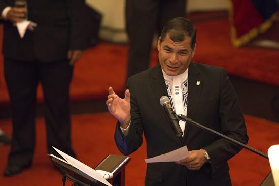 """El presidente de Ecuador, Rafael Correa, ofreció la conferencia """"Revolución económica y educacional en curso en Ecuador"""" en la Universidad de Sao Paulo."""