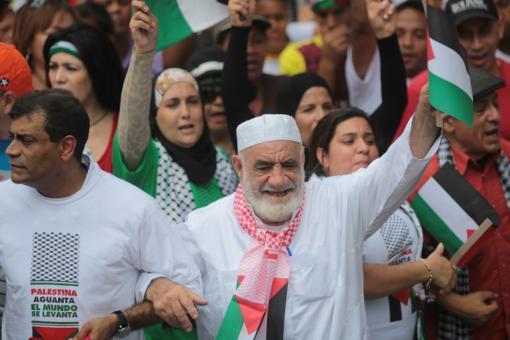 movimientos solidarios con PALESTINA MARCHARON CON  PALESTINOS RESIDENTES EN VENEZUELA