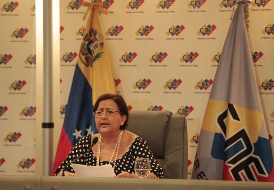 Tibisay Lucena, presidenta del Centro Nacional Electoral (CNE)