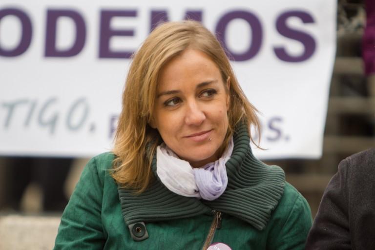 Tania Sánchez, diputada por Podemos, durante un acto de campaña