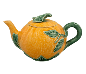 Bordallo Pinheiro orange teapot