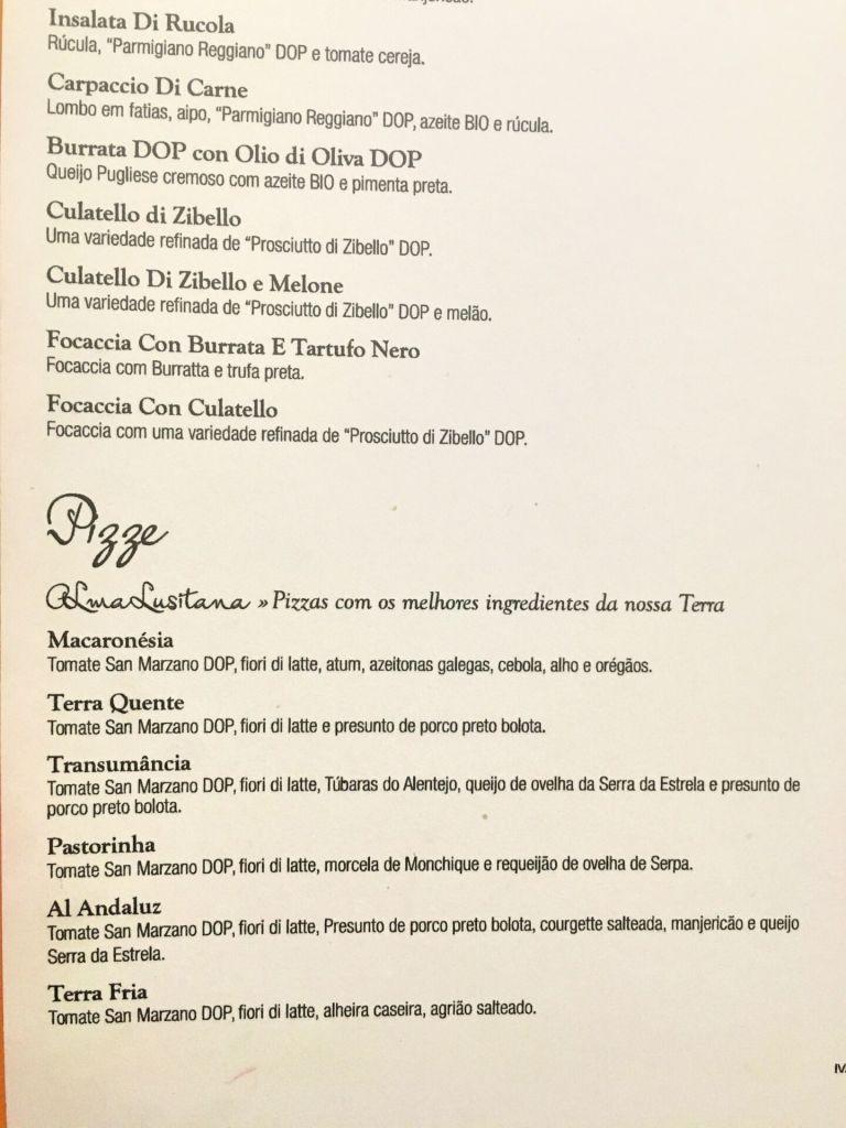Forno D'Oro Portuguese pizza menu