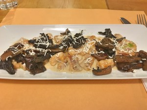 Pumpkin gnocchi with mushrooms