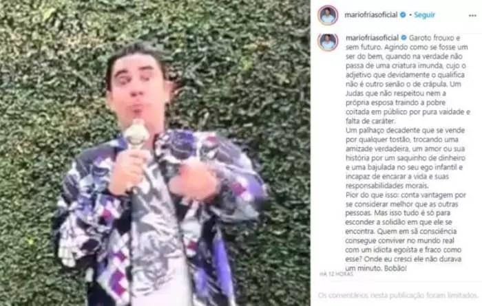 """Mario Frias ataca Adnet por vídeo de humor: garoto frouxo e sem futuro"""", """"criatura imunda"""", """"crápula"""", """"judas""""…"""