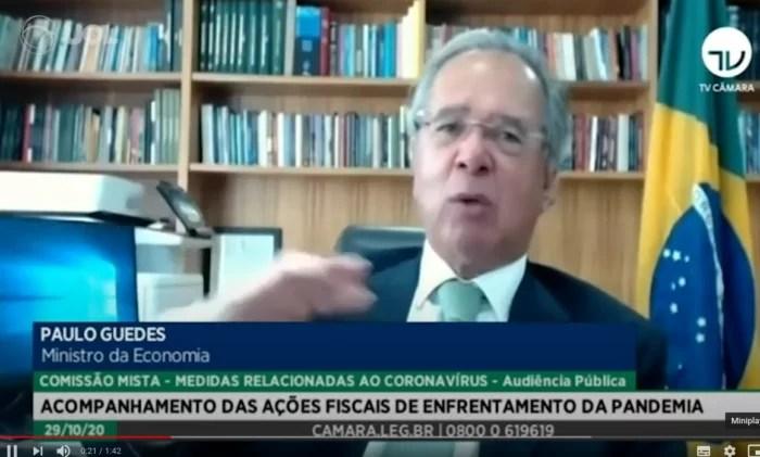 VÍDEO – Tragédia econômica: Paulo Guedes acusa, sem provas, banqueiros de financiar estudos contra o teto de gastos.