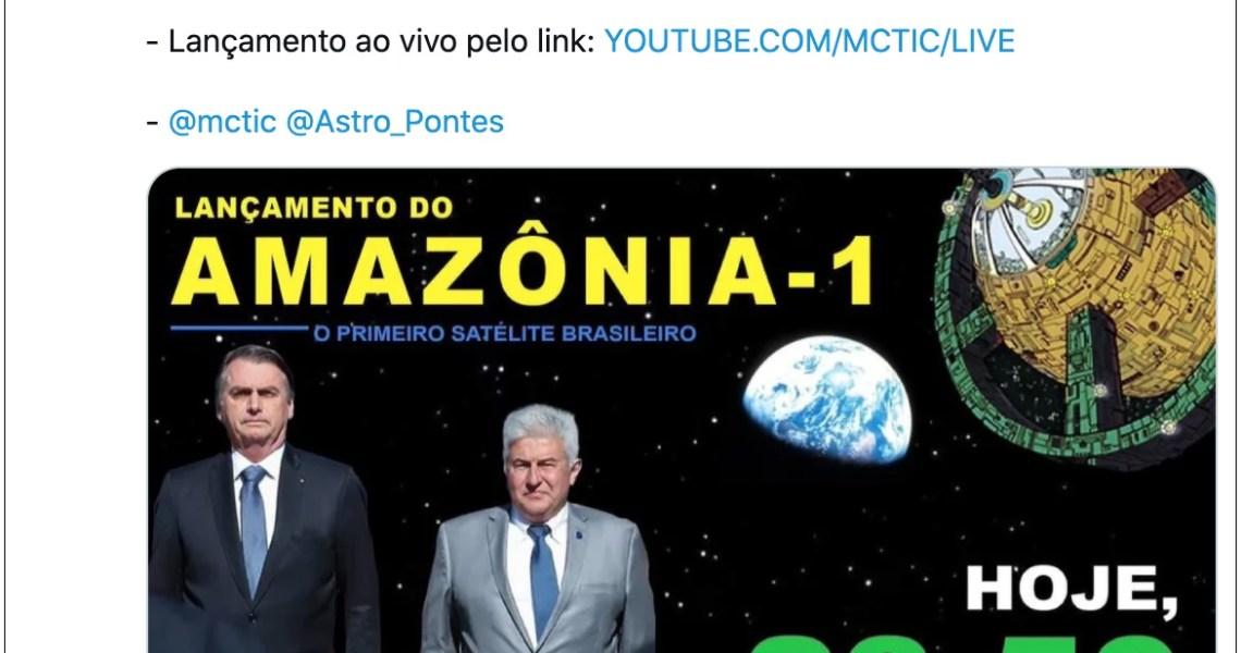Bolsonaro vira chacota ao usar imagem da Liga da Justiça para divulgar lançamento de satélite