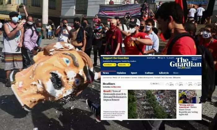 Manifestação contra Bolsonaro é capa do The Guardian on-line