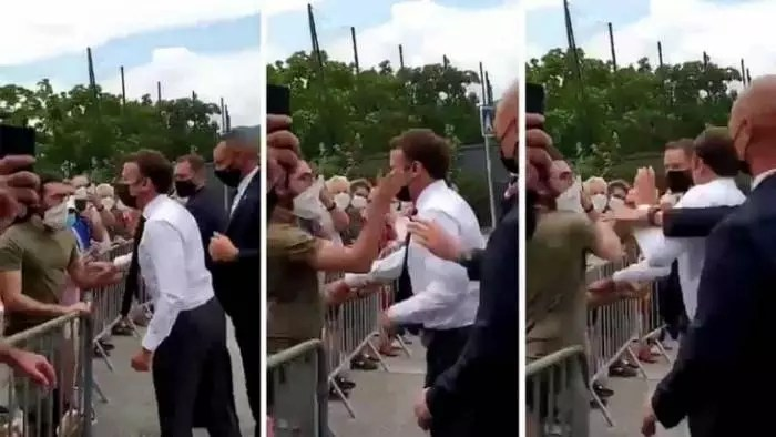 Vídeo: Macron toma tapa na cara durante visita a cidade do interior da França