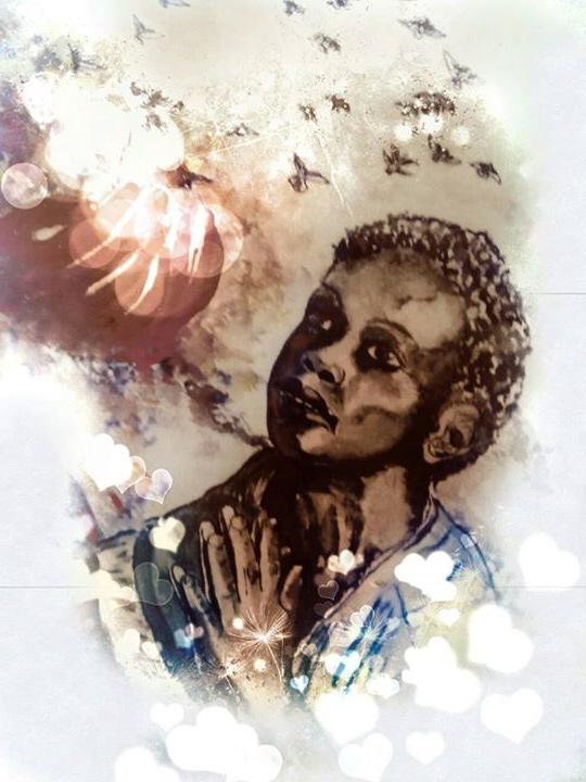Ein kleiner Junge empfängt das Gebet der Zwei Herzen von Jesus