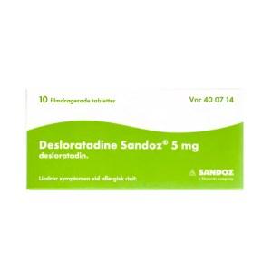 Desloratadine Sandoz 5 mg 10 filmdragerade tabletter