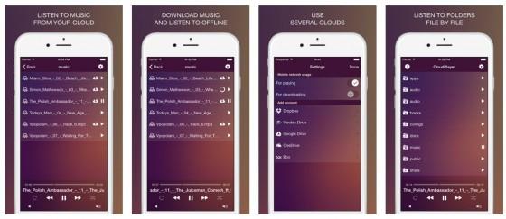 Langweiliges Design in schräger Farbe trifft bei CloudPlayer Pro auf ein intelligentes Work-Around zum Abspielen eigener Musik auf iOS Geräten.
